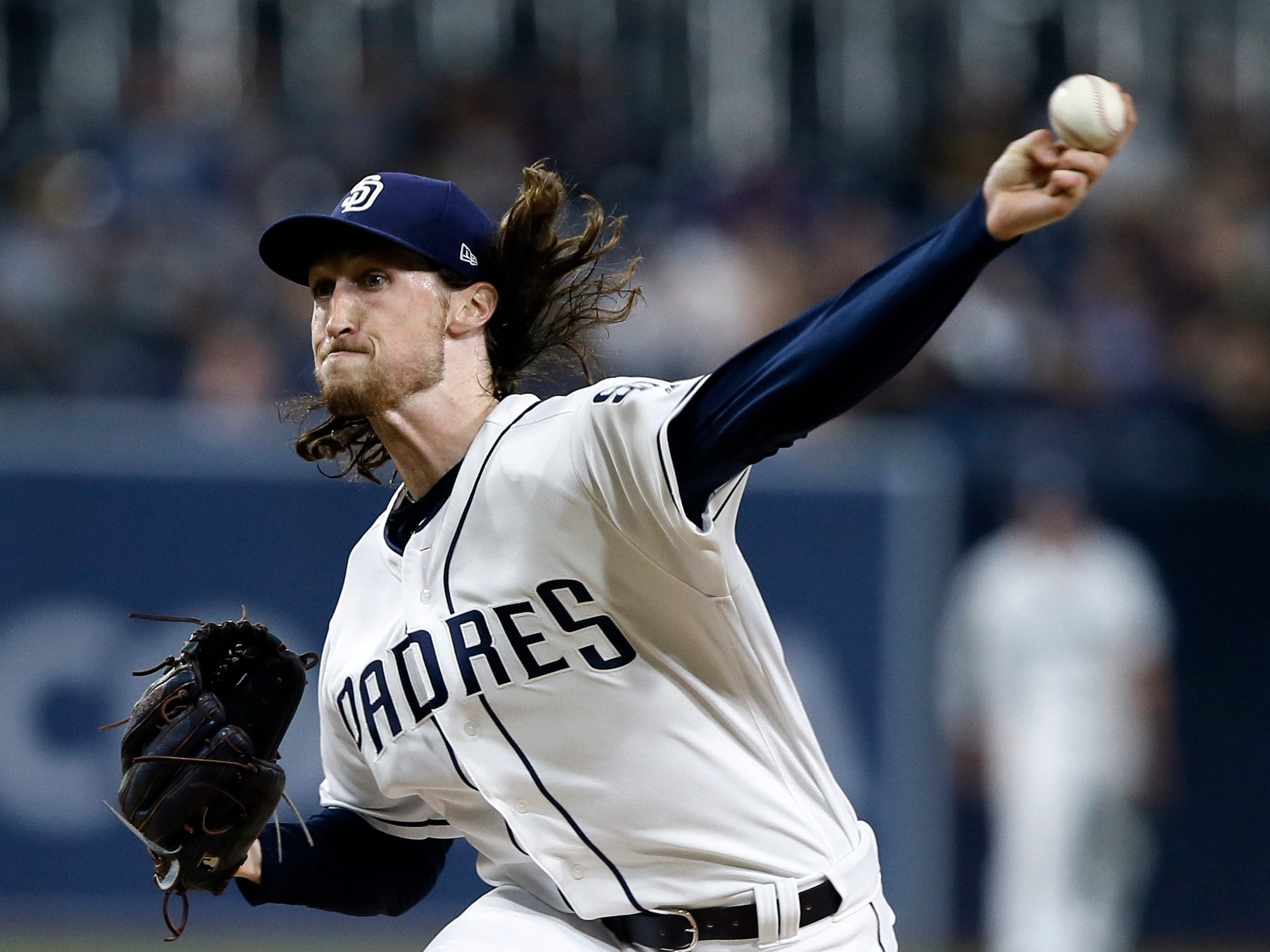 San Diego Padres relief pitcher Matt Strahm delivers to an Arizona Diamondbacks batter during the first inning of a baseball game in San Diego, Monday, April 1, 2019. (AP Photo/Alex Gallardo)