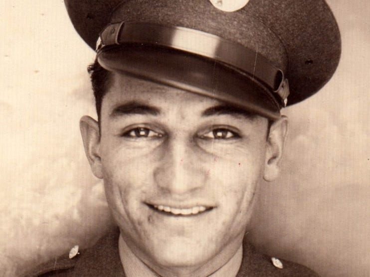 A portrait of Airman Joe Campos of the U.S. Army/Air Force seen in Europe during World War II.