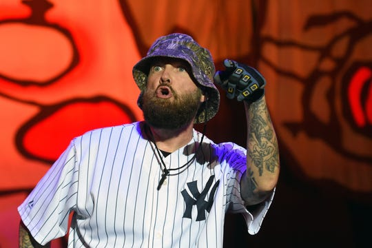 """Fred Durst of Limp Bizkit performs on the """"Green Stage"""" at the """"Frequency 2016"""" on  August 20, 2016 in St Poelten."""