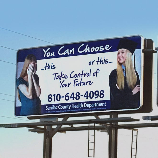 A billboard on M-46 on the eastern city limits of Sandusky, Michigan, spurred some controversy late last week over the message's intent. Some local residents have taken it to be promoting abortion. The Sanilac County health Department has since said it will take the billboard down.