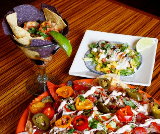 Nachos supreme, a mahi-mahi taco and the Peruvian Shrimp Ceviche from Mexicali Blue in the Village of Wappingers Falls on April 1, 2019.