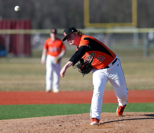 Marlboro's Frederick Callo pitches during an April 1 game against Arlington.