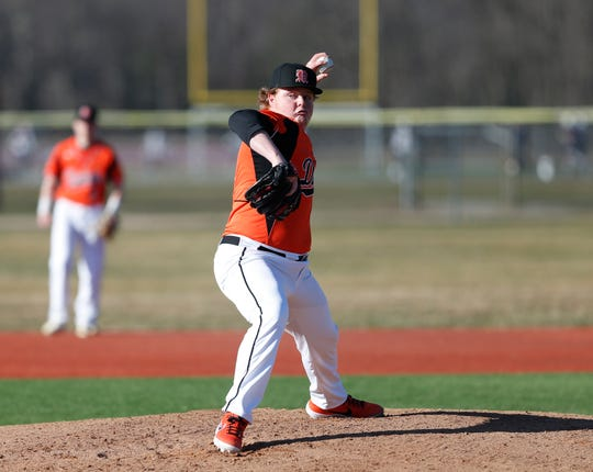 Marlboro's Frederick Callo pitches during Monday's game versus Arlington on April 1, 2019.