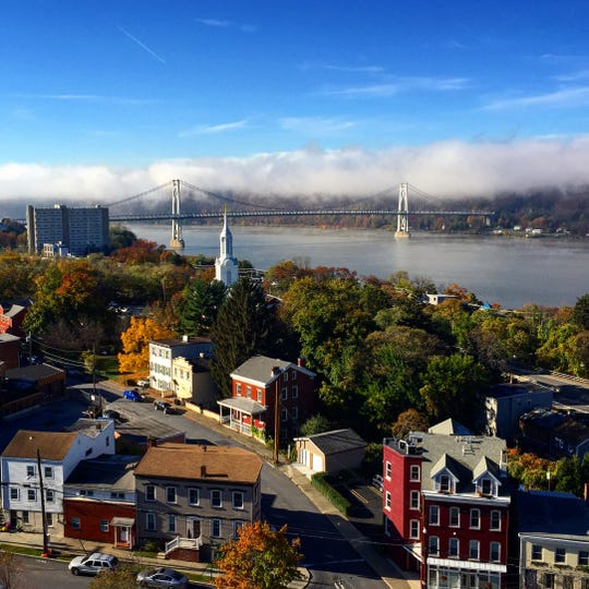 View from the Walkway Over The Hudson in Poughkeepsie.