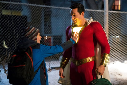 "Zachary Levi, right, and Jack Dylan Grazer star in  ""Shazam!"" The movie opens Thursday at Regal West Manchester Stadium 13, Frank Theatres Queensgate Stadium 13 and R/C Hanover Movies."