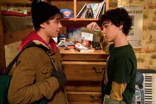 """Jack Dylan Grazer, left, and Asher Angel star in """"Shazam!"""" The movie opens Thursday at Regal West Manchester Stadium 13, Frank Theatres Queensgate Stadium 13 and R/C Hanover Movies."""
