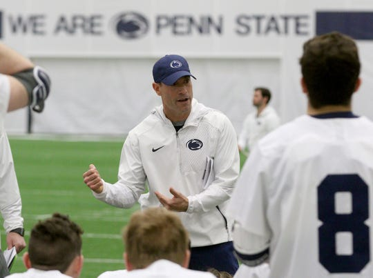 Penn State men's lacrosse head coach Jeff Tambroni  is seen with his team during halftime  of their game against Villanova on Feb. 2, 2019. Tambroni has led the Lions to an 8-1 start and a No. 1 national ranking.