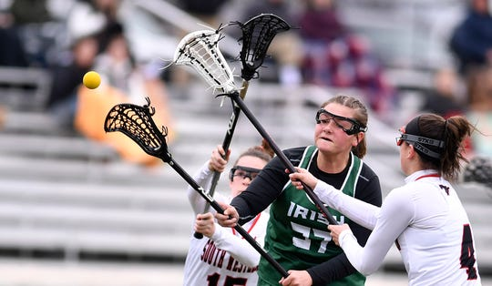 Ella Linthicum, seen here in a file photo, had six goals for York Catholic on Tuesday in a 25-13 girls' lacrosse victory over Eastern York.