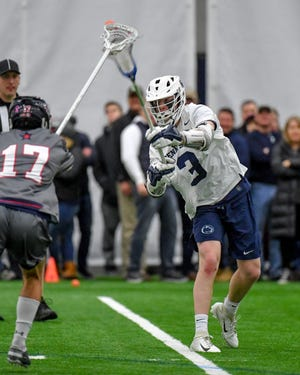 Penn State's Mac O'Keefe (3), seen here in a file photo, had six goals and an assist in an NCAA Division I playoff win over the University of Maryland Baltimore County on Sunday.