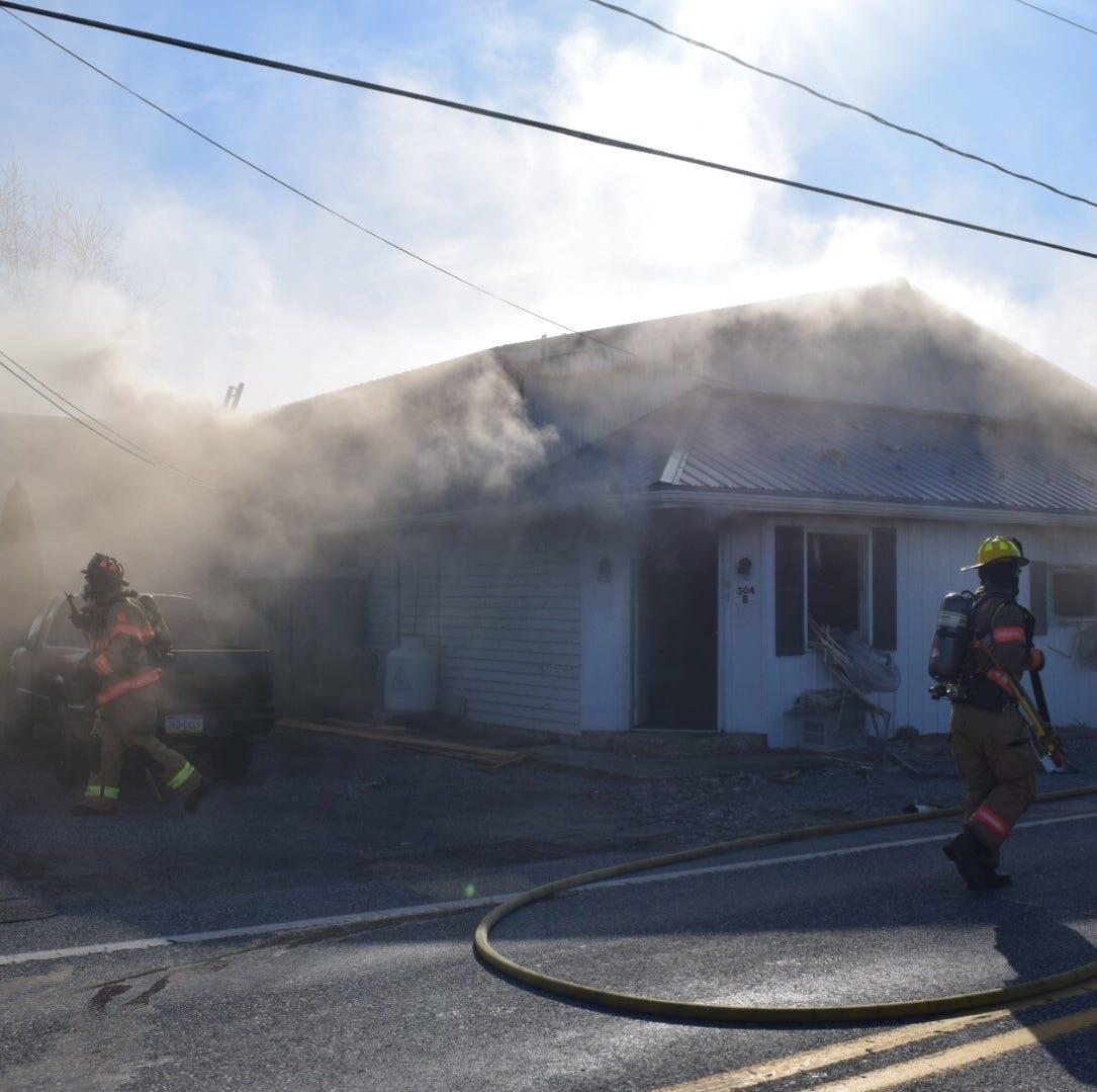 Firefighters spot blaze near Fawn Twp. body shop