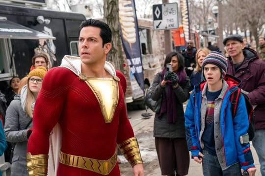 """Zachary Levi, left, and Jack Dylan Grazer star in """"Shazam!"""" The movie opens Thursday at Regal West Manchester Stadium 13, Frank Theatres Queensgate Stadium 13 and R/C Hanover Movies."""