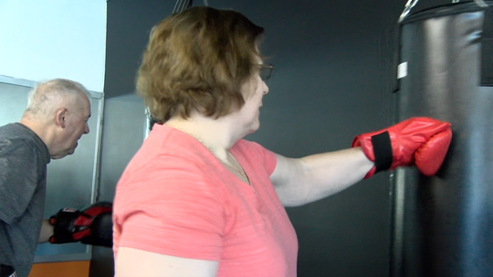 """Participants take part in a boxing program called """"Rock Steady"""", which helps those with Parkinson's Disease stay active and help with side effects. Rock Steady is being offered at Unique Physique in York."""