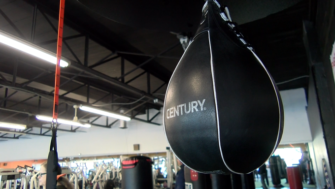 "A speed bag hangs in Unique Physique Fitness in York. A boxing program called ""Rock Steady"" helps those with Parkinson's Disease stay active and help with side effects."
