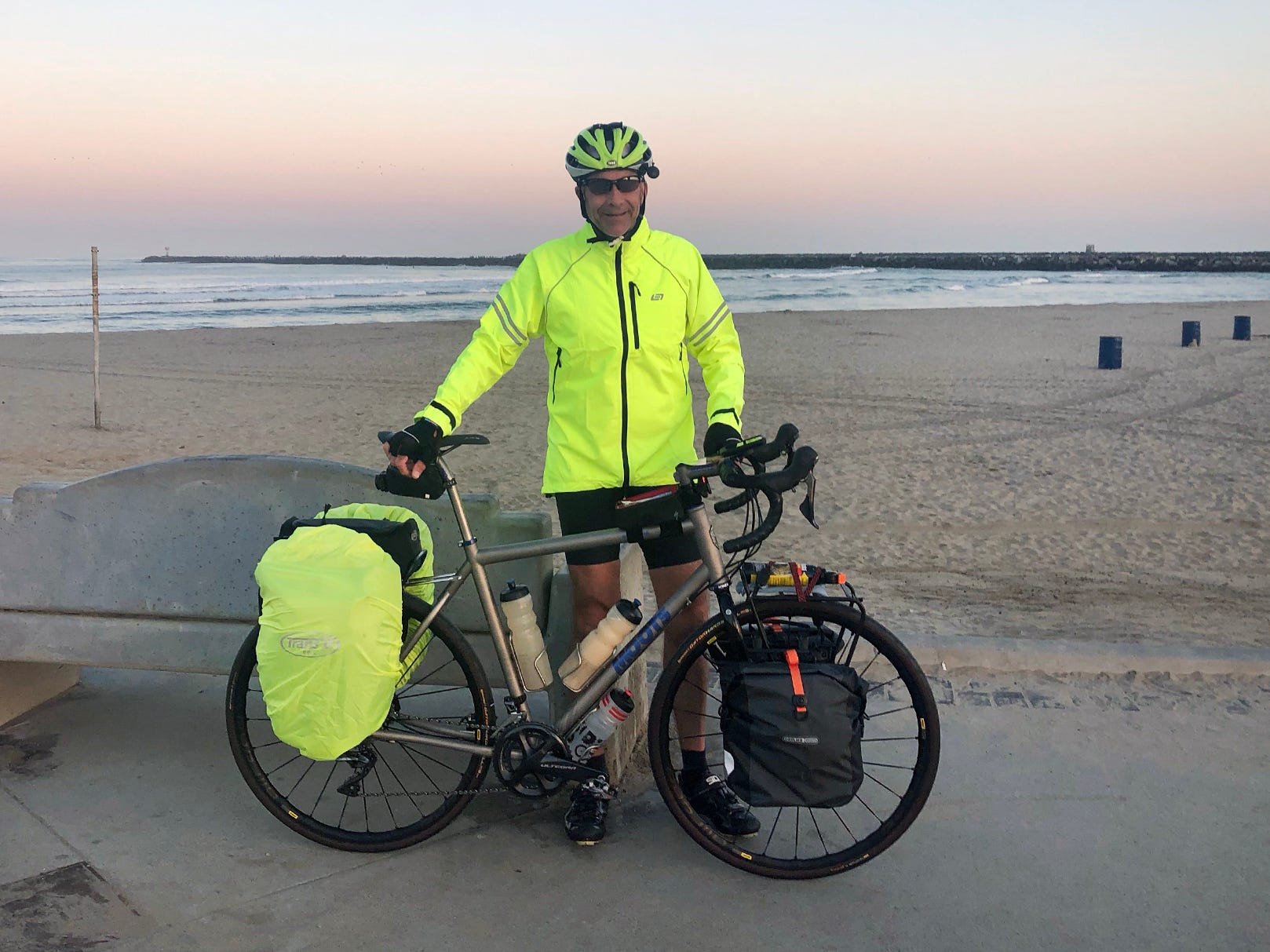 Dave Watkins leaves from San Diego, California, on March 31, 2019. He's biking to raise money for ovarian cancer research, after losing his wife and three other family members to the disease.