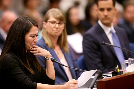 Assemblywoman Sandra Jauregui, D-Las Vegas, testifies to a joint meeting of the Assembly and Senate Judiciary committees in the Legislative Building in Carson City Monday, April 1, 2019, on her bill, A.B. 291, which would ban bump stocks and other firearms modifications.