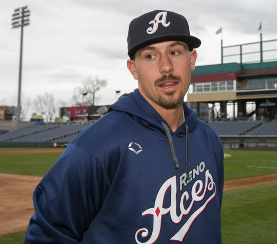 Pitcher Braden Shipley talks with the local media during the Reno Aces 2019 Media Day at Greater Nevada Field in downtown Reno on Monday.