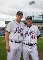 Manager Chris Cron (48) and son infielder Kevin Cron (35) during the Reno Aces 2019 Media Day at Greater Nevada Field in downtown Reno on Monday.