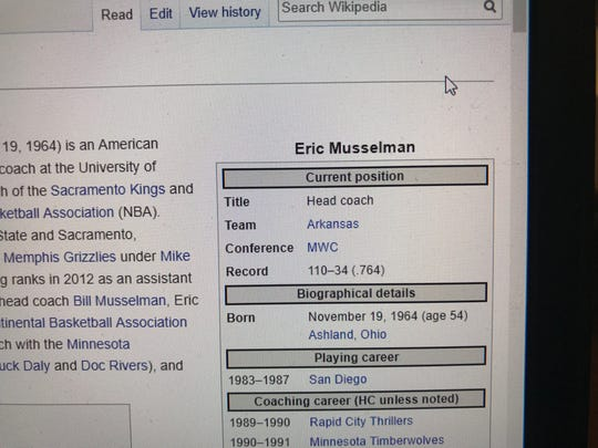A Wikipedia editor has changed Eric Musselman's current position to head coach at Arkansas.