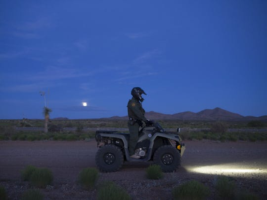 Border Patrol agents look for signs of human disturbances as they travel Highway 9 and other routes. The signs can be as subtle as a change in the reflection of the ground.