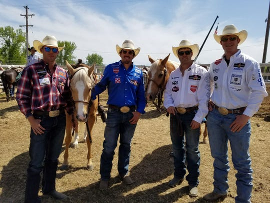 2018 Red Bluff Round-Up: Steer wrestlers Timmy Sparing, Helena, Mont., Tyler Pearson, Louisville, Miss., Tyler Waguespack, Gonzales, La., and Ty Erickson, Helena, Mont., pose with Waguespack's horse, Outlaw (standing next to Waguespack.) Outlaw has carried the last four Red Bluff Round-Up steer wrestling champs to their wins.