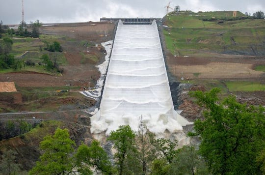 The Oroville Dam spillway on Tuesday, April 2, 2019 is in use for the first time since it was reconstructed.