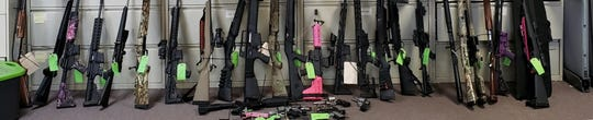 This a picture of the rifles that were seized by authorities in Siskiyou County.