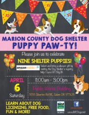 """Marion County Dog Services is hosting a free Puppy """"Paw-ty"""" from 11 a.m. to 3 p.m.April 6."""