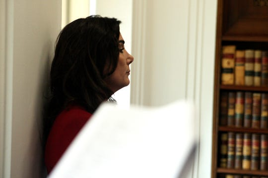 Jeannine Pacioni leans against the wall in the D.A.'s office, watching the footage of the shooting of Brenda Mendoza aka Brenda Rodriguez play out. April 2, 2019.