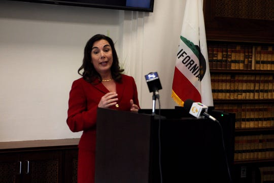 Monterey County D.A. Jeannine Pacioni answers reporters' questions Tuesday at the press conference regarding the officer-involved shooting death of Brenda Mendoza, aka Brenda Rodriguez that took place March 1. April 2, 2019.