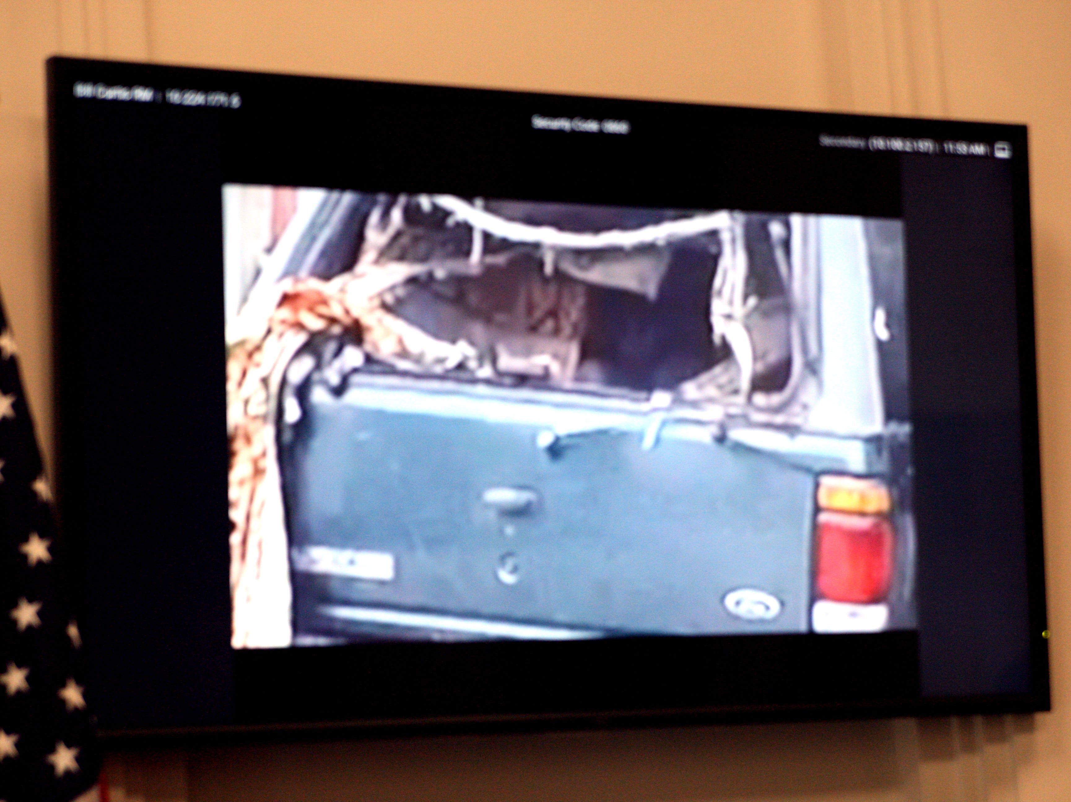 A frame of the body camera footage by officers, slowed down, shows Brenda Mendoza's face in the back of the Ford Explorer in which she lived. April 2, 2019.