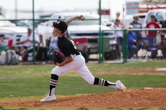 Brady's Kasen Baronet pitches during the game against Wall Tuesday, April 2, 2019, at Wall.