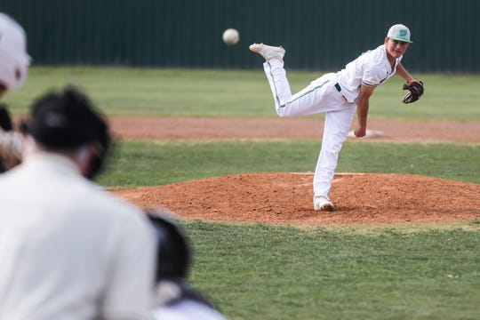 Wall's Caleb Heuertz pitches against Brady Tuesday, April 2, 2019, at Wall.