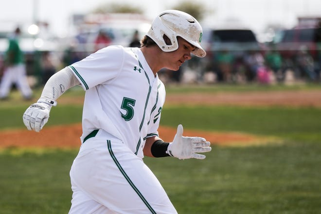 Wall's Tanner Seider runs around the bases against Brady Tuesday, April 2, 2019, at Wall.