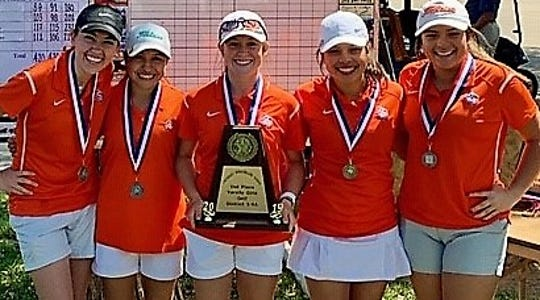 The San Angelo Central High School girls golf team is shown after winning the District 3-6A title in 2019. Ryann Honea (center) won the medalist title at the 2020 San Angelo Girls Golf Classic on Saturday.