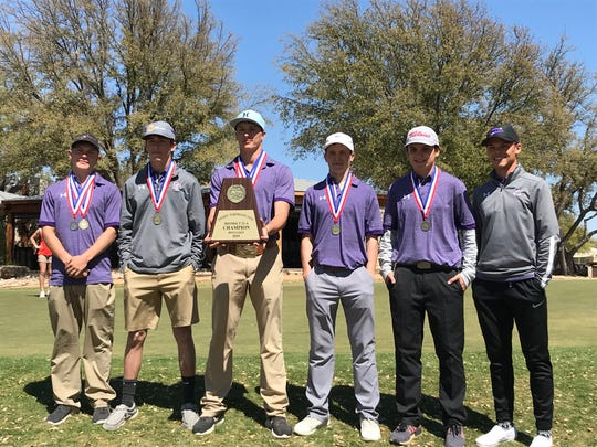 The Sterling City boys golf team won the team title at the District 11-1A golf tournament in 2019.