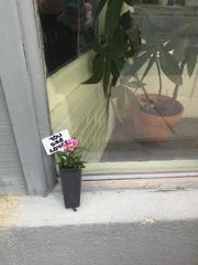 Small flowerpots bearing messages of love, peace and kindness were placed outside several businesses in downtown Onancock, VIrginia on Tuesday, April 2, 2019, after KKK flyers were found in several towns in Accomack and Northampton counties over the previous weekend.
