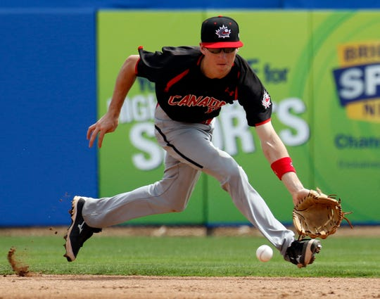 Mar 17, 2016; Dunedin, FL, USA; Canada Junior National shortstop Adam Hall (11) runs to field a ground ball against the Toronto Blue Jays during the second inning at Florida Auto Exchange Stadium. Mandatory Credit: Butch Dill-USA TODAY Sports