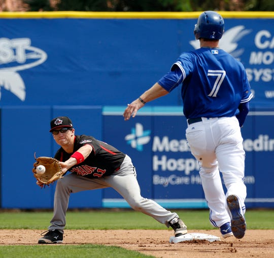 Mar 17, 2016; Dunedin, FL, USA; Canada Junior National shortstop Adam Hall (11) catches a throw for the force out on Toronto Blue Jays second baseman David Adams (7) during the second inning at Florida Auto Exchange Stadium. Mandatory Credit: Butch Dill-USA TODAY Sports