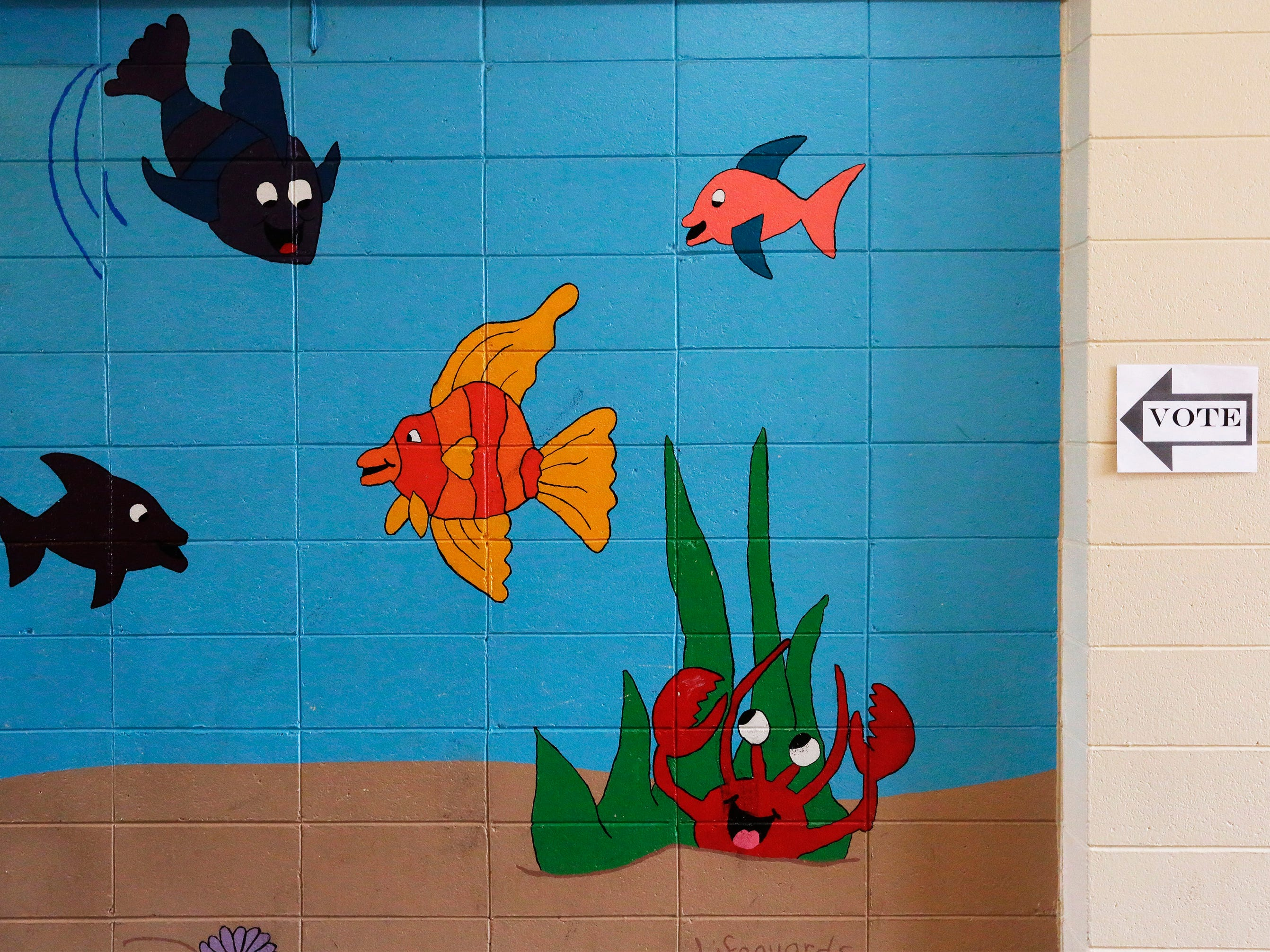 The fish painted on the wall seem to know where to vote at the Quarryview Center, Tuesday, April 2, 2019, in Sheboygan, Wis.