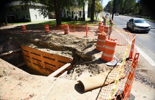Sewage work being done in the South Highland neighborhood of Shreveport Tuesday, April 2, 2019.