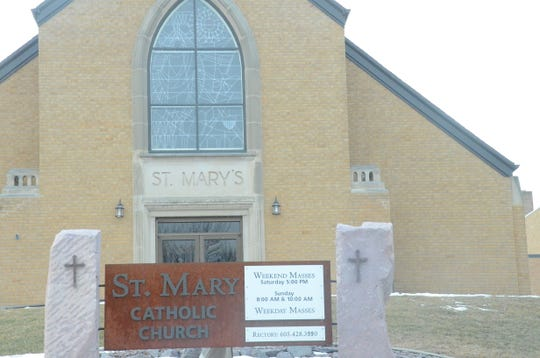 The catholic church in Dell Rapids reads both St. Mary, and St. Mary's.