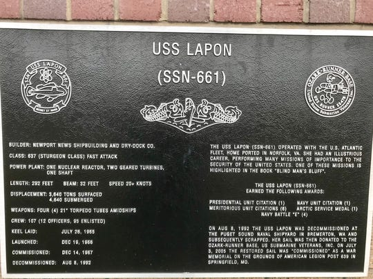 The sail of the USS Lapon, a submarine built in 1966, has been on display as a memorial at American Legion Post 639 since 2005.