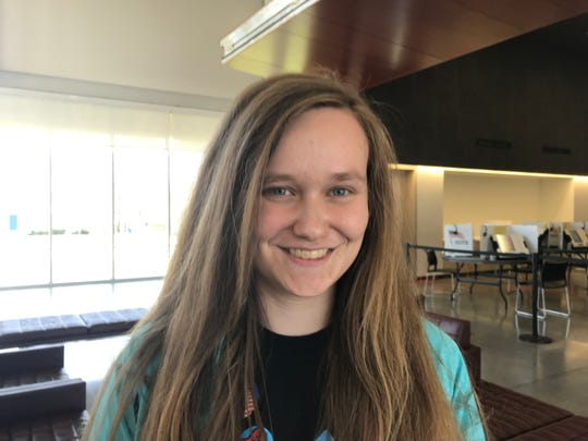 Emily Daily, a speech pathology major, voted at the central polling location on the MSU campus.