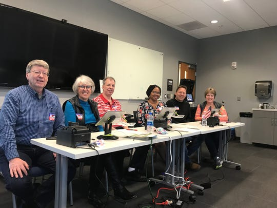 Election judges at the CU bus transit center on Tuesday, April 2, 2019.