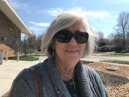Gayle Lakin voted at Schweitzer Brentwood Branch Library.