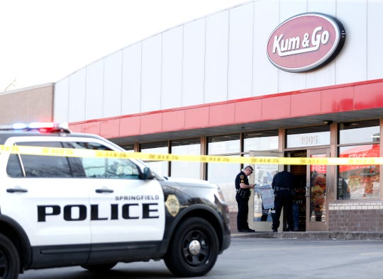 Springfield police are investigating a shooting at the Kum & Go on the northwest corner of Division Street and National Avenue on Tuesday, April 2, 2019.