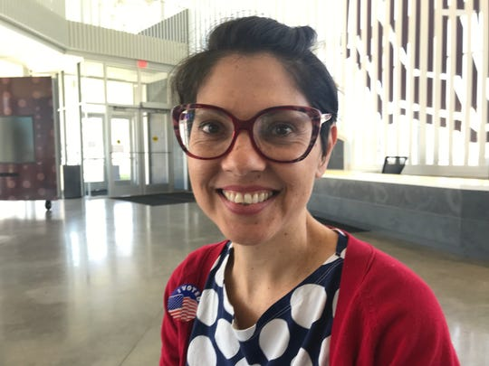 Ximena Uribe-Zarain voted at the central polling location on the MSU campus.
