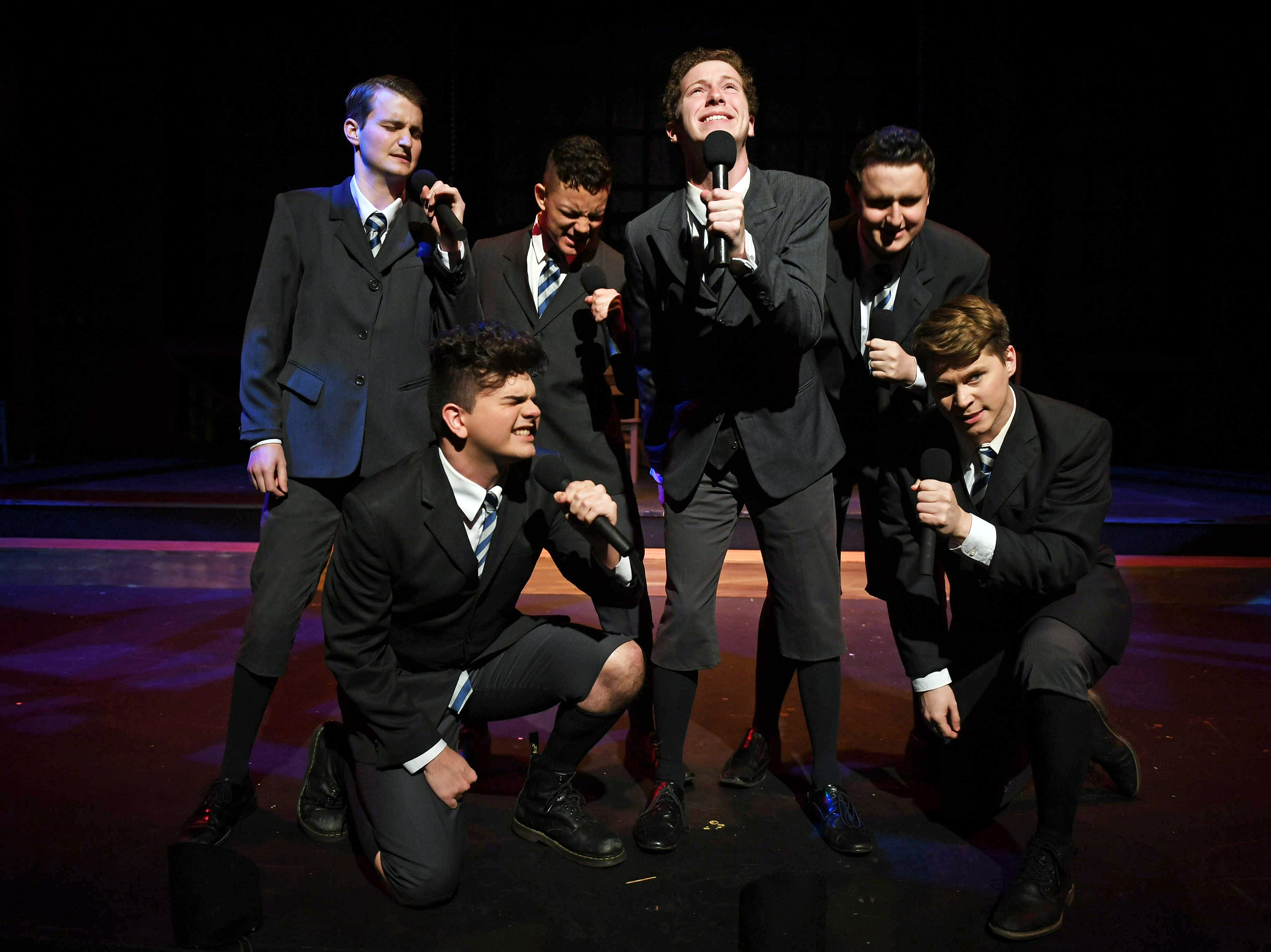 "The boys of ""Spring Awakening"" express their sexual frustrations. Left to right: Bradley Gay, Tristan Ferrara, Santos Sanchez, Spencer Lail, Cameron Casey, Jon Mathes."