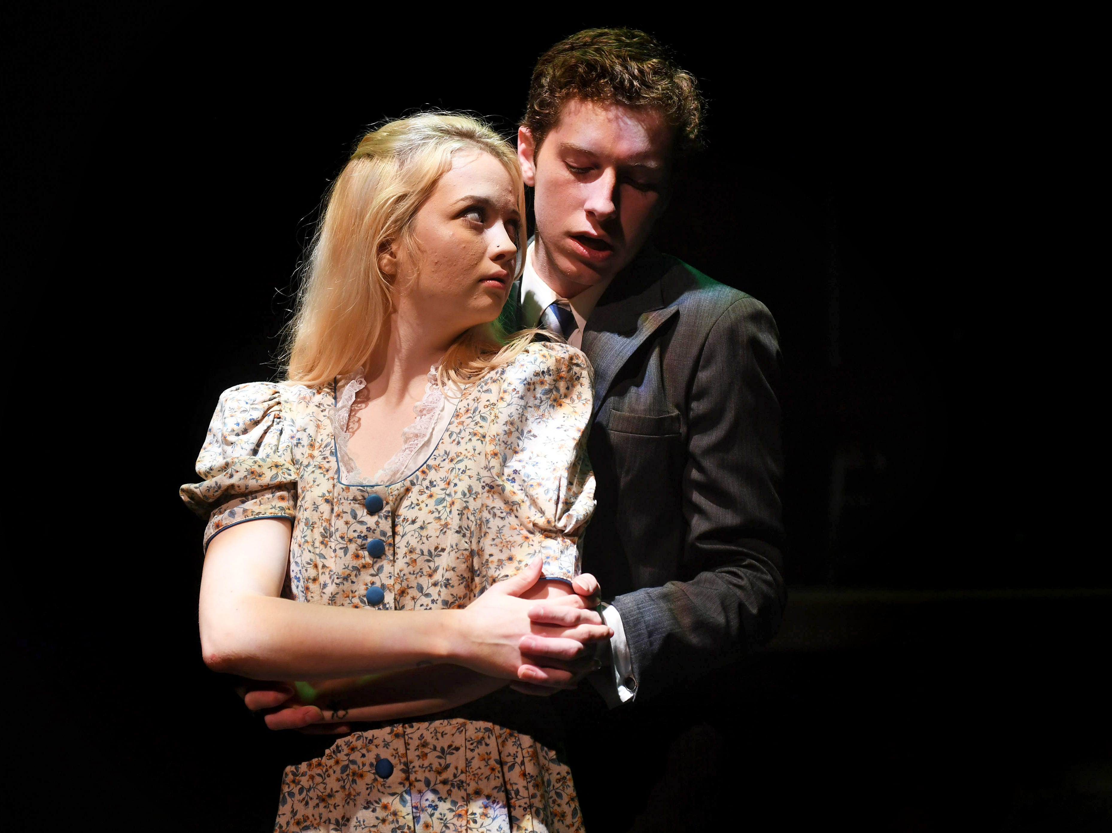 """Wendla (Hannah MacGregor) and Melchior (Spencer Lail) struggle with their intense feelings for each other in """"Spring Awakening."""""""