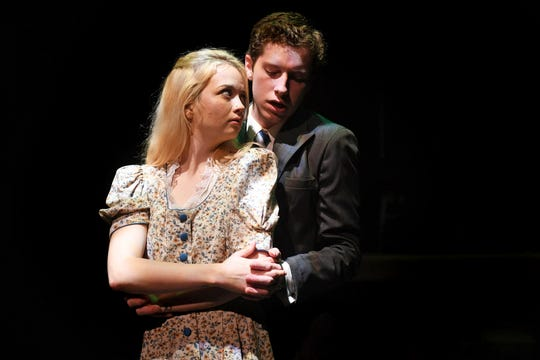 "Wendla (Hannah MacGregor) and Melchior (Spencer Lail) struggle with their intense feelings for each other in ""Spring Awakening."""